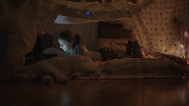 young girl and her dog relax inside a homemade pillow fort. - fortress stock videos & royalty-free footage