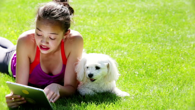 young girl and pet using tablet - one teenage girl only stock videos & royalty-free footage