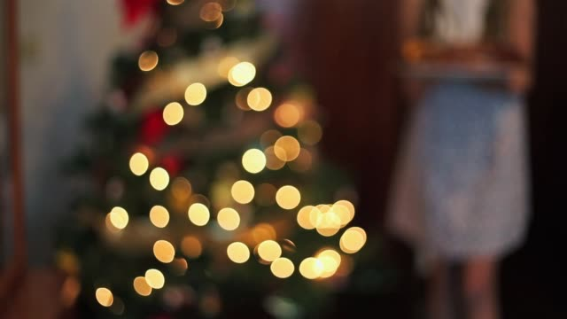 young girl carrying a christmas sweet besides the christmas tree. - parte de una serie video stock e b–roll