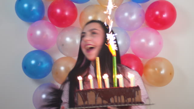 young girl celebrating birthday - 25 29 years stock videos & royalty-free footage