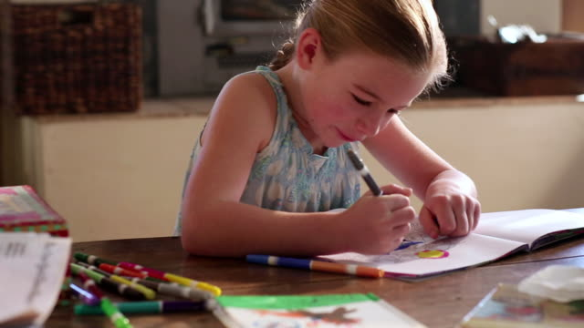 MS Young girl coloring with markers / Lamy, New Mexico, United States
