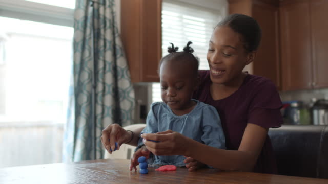 a young girl develops her creative skills with her mother - single mother stock videos & royalty-free footage