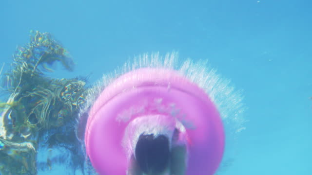 slo mo young girl diving through an inflatable ring into a swimming pool - swimming pool stock videos & royalty-free footage