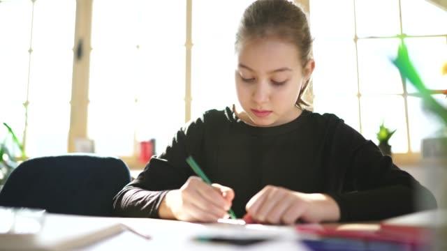 vidéos et rushes de jeune fille faisant des devoirs à la maison - cours de mathématiques