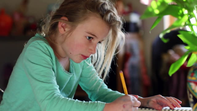 MS TD Young girl drawing in her notebook / Lamy, New Mexico, United States