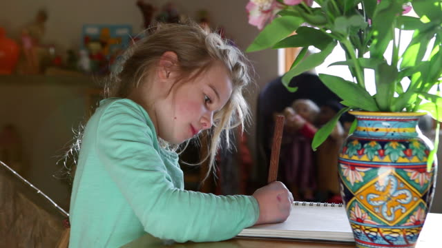 MS Young girl drawing in her notebook / Lamy, New Mexico, United States