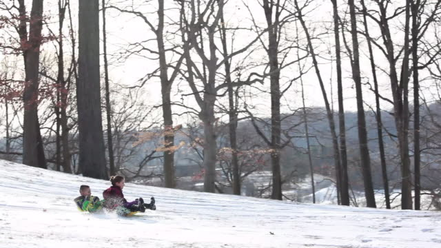 vídeos y material grabado en eventos de stock de young girl drives a sled down a snowy hill while young boy rides along behind - kelly mason videos
