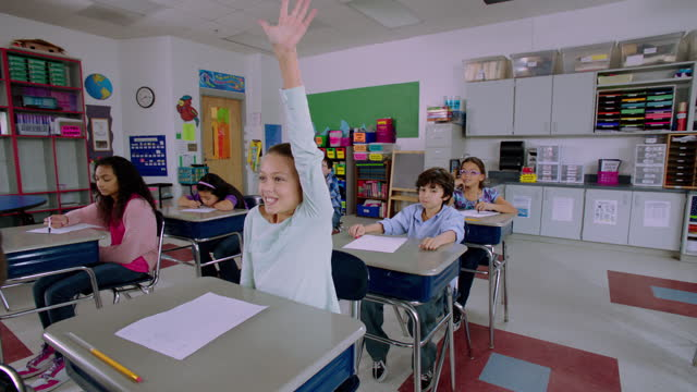 vídeos de stock e filmes b-roll de a young girl eagerly raises her hand to answer a question during class. - edifício escolar