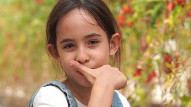 young girl eating fresh tomatoes in oganic farm , gmo food , biofood , alternative ifestyle concept , good condition , thumbs up - good condition stock videos & royalty-free footage