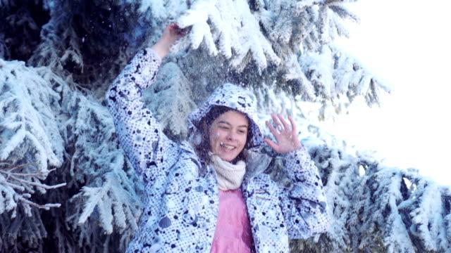 young girl enjoying a winter - ski jacket stock videos & royalty-free footage