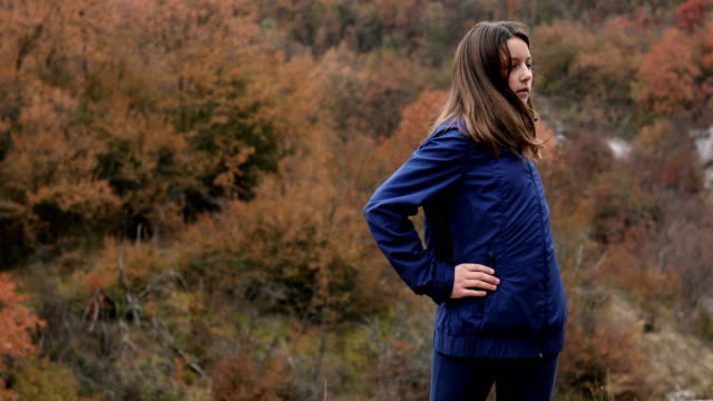 young girl exercising in nature - cardiovascular exercise stock videos & royalty-free footage