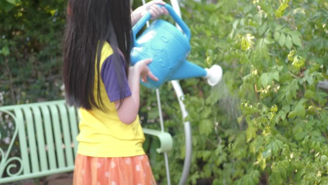 young girl hand watering with tree in garden home. - squirting girl stock videos and b-roll footage