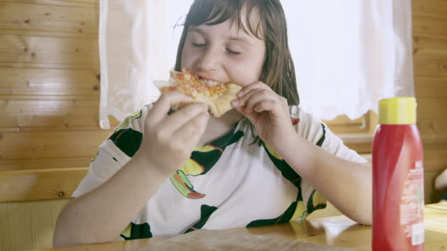 ms young girl having an overeating problem - ketchup stock videos and b-roll footage