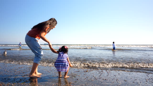 vidéos et rushes de ms young girl holding aunts hand while playing in surf - tante