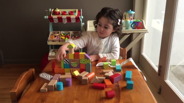 Young Girl is Playing with Building Bricks