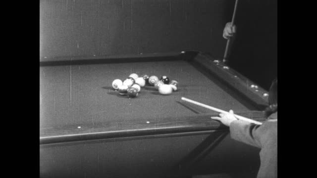 vídeos de stock, filmes e b-roll de young girl of seven jean balukas gives demonstration of her skills during the world pocket billiards championship in new york / balukas breaks and... - championship