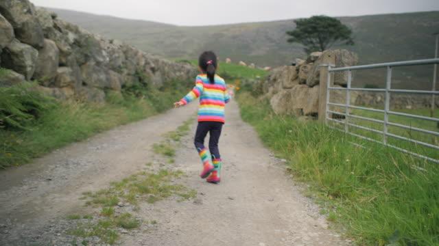 田舎で遊ぶ若い女の子, 北アイルランド - 幼児点の映像素材/bロール