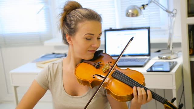 young girl playing the violin - violin stock videos & royalty-free footage