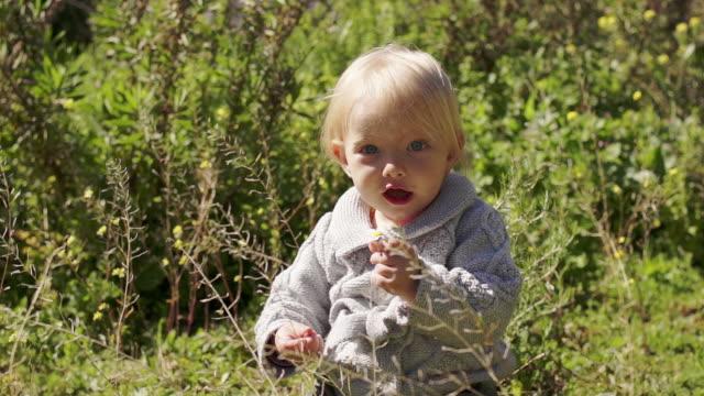vídeos de stock, filmes e b-roll de young girl playing with flower - cabelo de comprimento médio