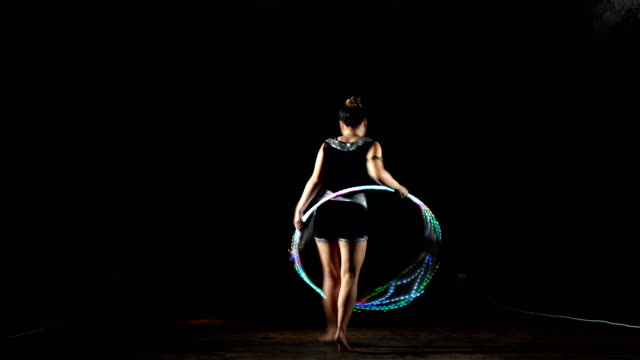 young girl playing with hula hoop. - performer stock videos & royalty-free footage