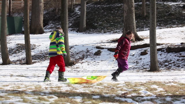 vídeos de stock e filmes b-roll de young girl pulling a sled and young boy points as they run toward a snowy hill - kelly mason videos