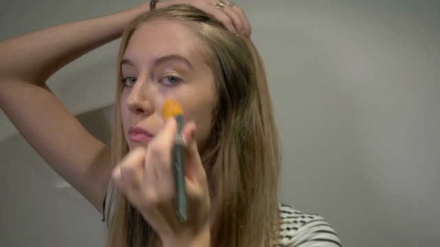 young girl putting make-up: time lapse - lip liner stock videos & royalty-free footage