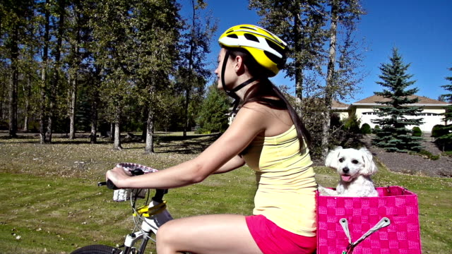 Young girl riding bicycle with pet dog