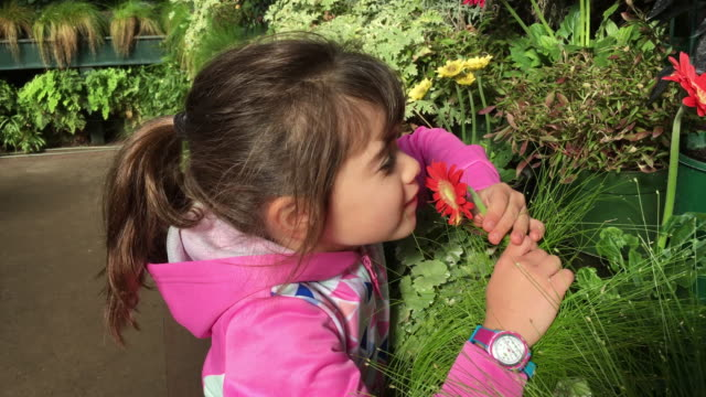 Young girl smells a flower