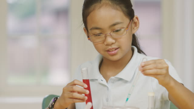 young girl studying science while home schooling - fatcamera stock videos and b-roll footage