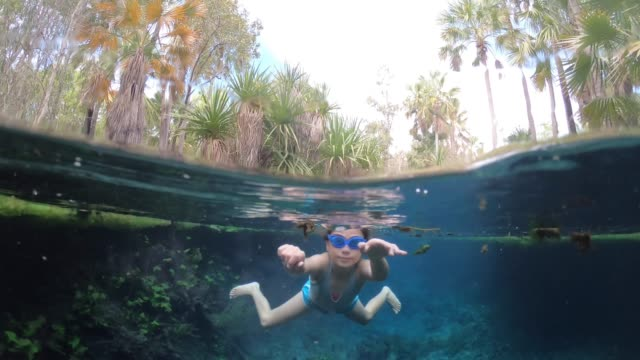 young girl swimming underwater in bitter springs northern territory australia - natürliches thermalbecken stock-videos und b-roll-filmmaterial