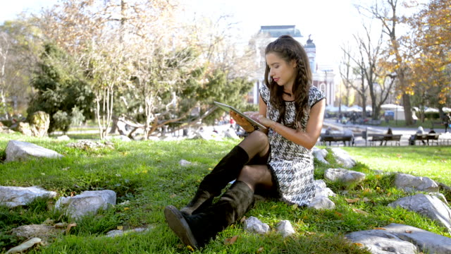 Young girl use tablet