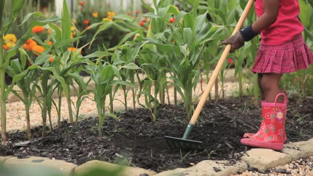 MS PAN TU Young girl using hoe in vegetable garden / Richmond, Virginia