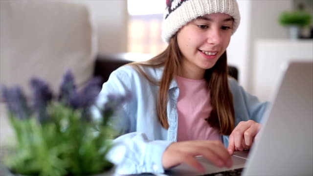 young girl using lap top - pre adolescent child stock videos & royalty-free footage