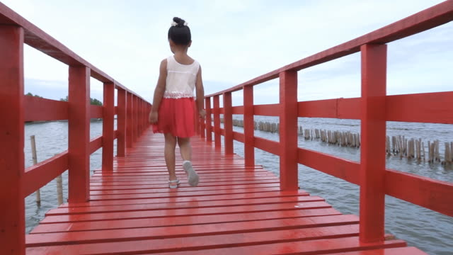 橋の上を歩くslo mo若い女の子 - 少女点の映像素材/bロール