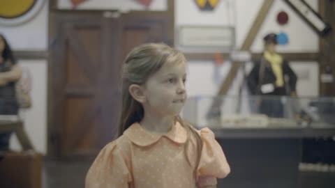young girl walking through train museum - museum stock videos & royalty-free footage