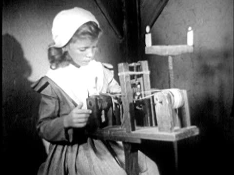 1955 b/w reenactment montage ms young girl weaving on small loom; cu hands weaving / new england, united states / audio - origins stock videos & royalty-free footage