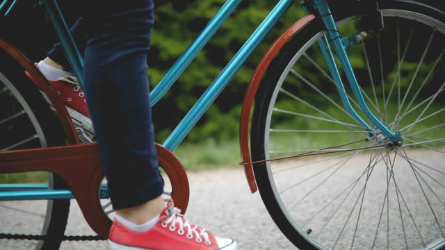 young girl with old bicycle - standing stock videos & royalty-free footage