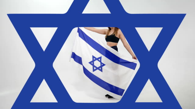 young girl with the flag of israel - judaism video stock e b–roll
