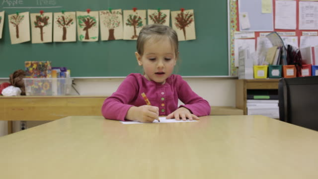 ms young girl working on writing inside classroom at school / minneapolis, minnesota, united states - minnesota bildbanksvideor och videomaterial från bakom kulisserna