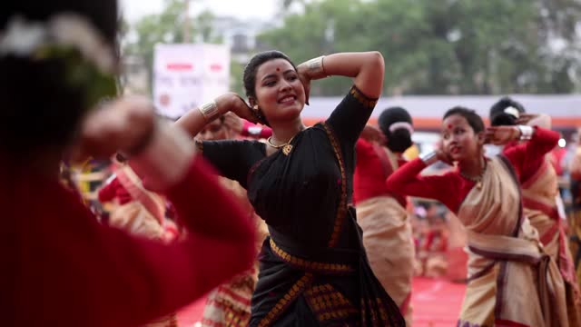 young girls and woman dancing assamese traditional bihu at an event ahead of rongali bihu ot bohag bihu festival on april 12, 2021 in guwahati,... - happiness stock videos & royalty-free footage