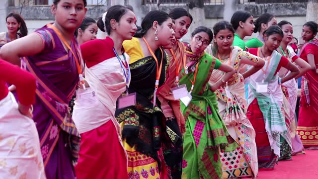 young girls dance as they participate in a bihu dance workshop ahead of rongali bihu festival on april 09, 2021 in guwahati, india. the bihu dance is... - teenage girls stock videos & royalty-free footage
