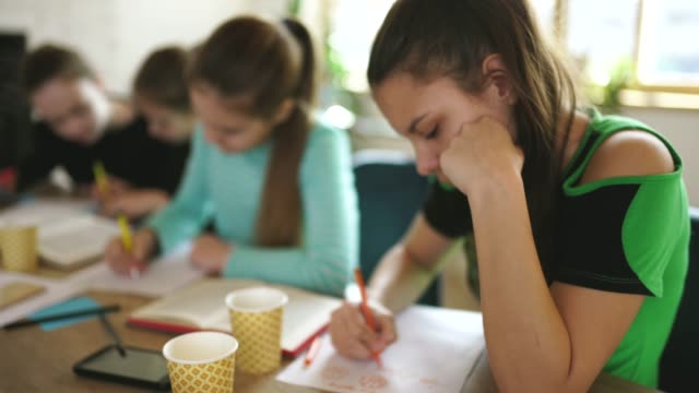 vidéos et rushes de jeunes filles étudiant ensemble sur la classe privée - cours de mathématiques