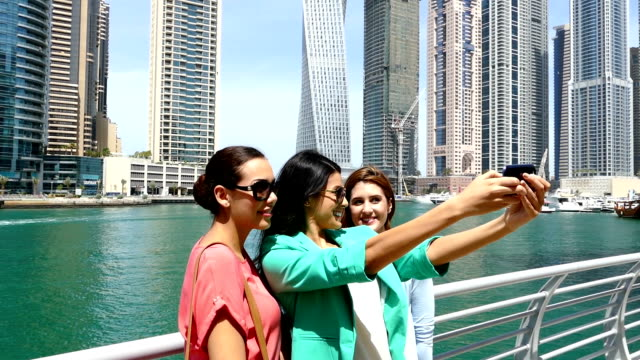 Young girls take selfie in Dubai
