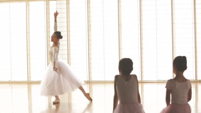 ws young girls watching a ballerina dance. - ballerina stock videos & royalty-free footage