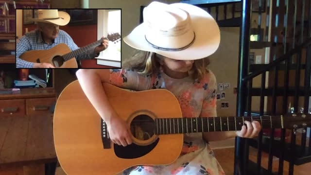 young granddaughter enjoys a guitar lesson from her grandfather via video call (audio) - pop music stock videos & royalty-free footage