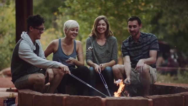 vidéos et rushes de 4k uhd: jeune groupe d'adultes faire griller des guimauves - camping