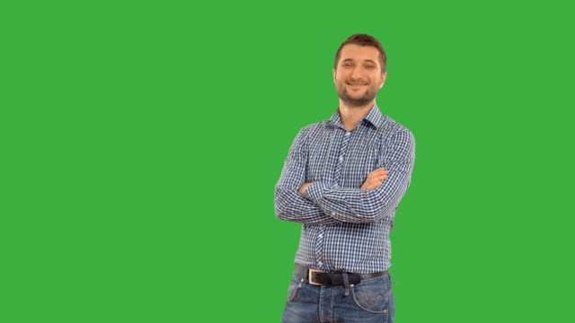 young guy  on a green background with alpha channel - plaid shirt stock videos & royalty-free footage