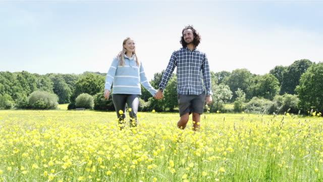 vídeos y material grabado en eventos de stock de joven pareja feliz cogidos de la mano en un paseo por el campo. vista frontal. - ranúnculo