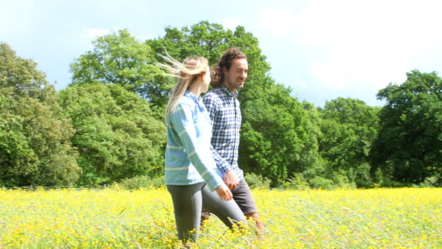 young happy couple holding hands on a country walk. side view. - long hair stock videos & royalty-free footage