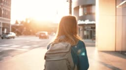 Young happy woman with backpack walking in downtown alone. Beautiful female turns and smiling at camera